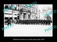 OLD LARGE HISTORIC PHOTO OF HARTFORD CONNECTICUT THE POLICE PARADE c1920