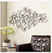 Mirror Wall Art Hanging Metal Sculpture Modern Silver Circles Geometric Home New
