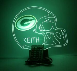 Green Bay Packers Night Light Up Football LED Sports Fan Lamp, Personalized FREE