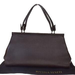 Authentic BOTTEGA VENETA Logo Intrecciato Hand Bag Leather Brown Italy 33MD807