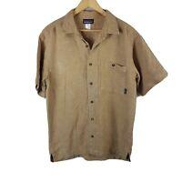 Patagonia Mens Short Sleeved Shirt Medium M Button Up Khaki Hemp Sustainable