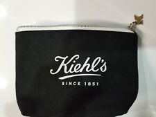 New Kiehl's Black Canvas Cosmetic Bag with Logo