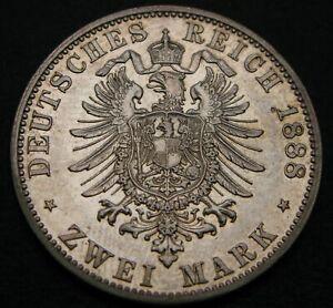 PRUSSIA (German State) 2 Mark 1888 A - Silver - Wilhelm I. - XF - 717