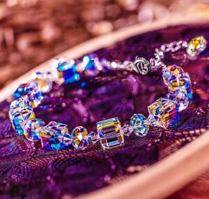 Aurora Borealis Bracelet Made with Round Crystals White Gold Plated