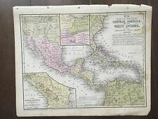"""Hand-Colored Map of Central America (1855)-""""Mitchell's School Atlas"""""""