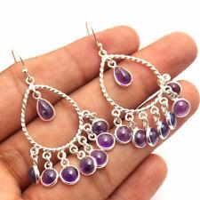 HANDMADE 925 Solid Sterling Silver Fine Jewelry Amethyst Gemstone Earring