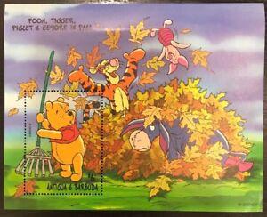 Antigua & Barbuda - 1998 Disney Pooh, Tiger, Piglet, Eeyore in Fall S/S