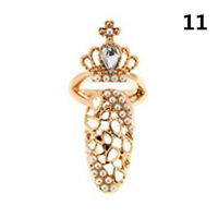 Women Fancy Style Crown Crystal Finger Nail Art Ring Jewelry Nail Finger Rings l