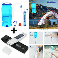 Gravity Water Straw Filter Purifier Survival Tool + TDS Water Quality Tester