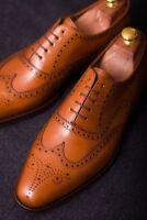 Handmade Men's Genuine Tan Leather Oxford Brogue Wingtip Wedding Formal Shoes
