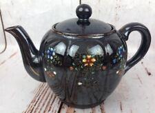 Vintage Japanese Tea Coffee Pot Kettle Floral Flowers Glazed Black Purple Japan