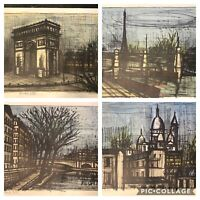 Set of 4 Bernard Buffet Lithograph Prints The Quai D Anjou, The Arc de Triomphe