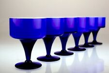 6 edle Gläser Überfang Glas ultramarin blau weiß Stil der 60er 70er *K6