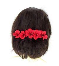 5 x Red Hibiscus Flower Hair Pins Clips Tropical Beach Bridal Hawaiian 2419