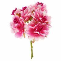 1X(6 Stueck 4cm kuenstliche Nelke Blume Staubblaetter Blumenstrauss Hochzeit 6A