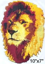 "Large Lion Face Embroidered Patch 10""x7"" iron-on"
