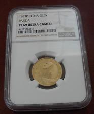 China 1993P Gold 1/4 oz Panda 25 Yuan NGC PF69UC