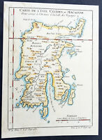 1752 Nicolas Bellin Original Antique Map of Sulawesi Island, Indonesia - Celebes