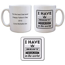 Best Dad Mug & Coaster Gift Set - Personalised Fathers Day Birthday