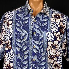"Honolua Surf Co Hawaiian Aloha Shirt Hibiscus Plumeria Panel Print 52"" Chest"
