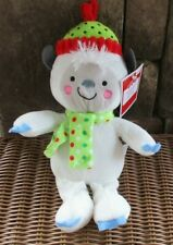 New Hug Fun White Plush Yeti Abominable Snowman Lovey Toy Polka Dot Scarf & Hat