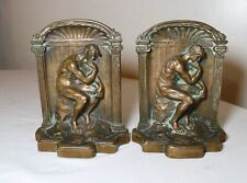 pair of 2 antique solid heavy cast figural bronze nude thinking man bookends