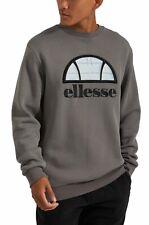 ellesse Manto Reflective Logo Mens Cotton Crew Neck Sweatshirt Grey Sweat Top
