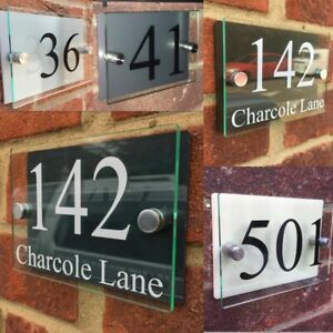 MODERN HOUSE SIGN PLAQUE DOOR NUMBER STREET GLASS EFFECT ACRYLIC NAME BLACK SIGN
