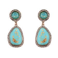 Boucles d`Oreilles CLIP ON Doré Art Deco Goutte Irregulier Turquoise Pavé  X16