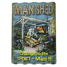 MAN SHED WALL SIGN - Corrugated Tin - Man Cave Bar Garage Fathers Day
