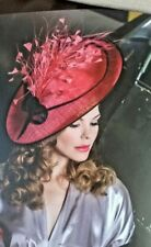 Coral & Black Sinamay & feather Hatinator .Large saucer disc Wedding.races.Kay