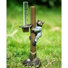 "Frog Gardener Rain Gauge Plant Stake Metal & Glass, 17.5"""