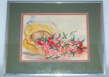 "Original Ethel Dixon Watercolor Painting ""Strawberry Time"" 9x7-Newport RI Estate"