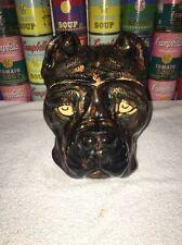 Rare Antique Old Hoganas Keramik Sweden Dog Head Biscuit Cookie Jar Swedish