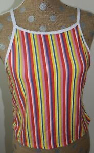 RUE 21 Colorful Striped Tank Top Stretch Crop Sleeveless SIZE XL NWT