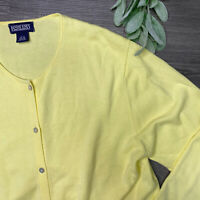Lands' End Women's Cardigan Sweater Button Down Long Sleeve Yellow Large 14-16