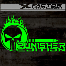 Flaming Punisher EditionSkull Vinyl Dicut Decal 2 Sizes/15 Color! FREE SHIPPING