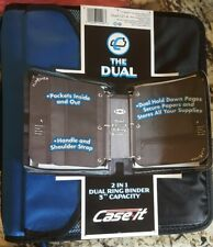 Case It Dual Ring Zipper Binder With Exterior Pocket Blue 3 Inch Dual 121 A