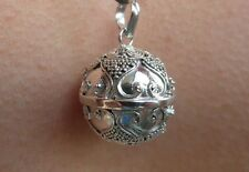 "Balinese Harmony Ball pendant genuine 925 silver 16mm ""Dotted Scroll"" with cord"