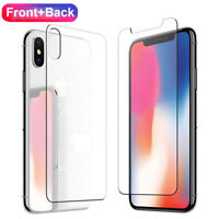Premium Front & Back Tempered Glass Film Screen Protector For iPhone XS Max XR X