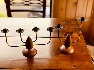 Pair of MCM Mid Century Modern Teak and Brass Candelabra, 4 Candle & 2 Candle