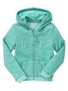 NEW GAP Marled French Terry Knit Arch Logo Hoodie Hooded Sweatshirt Girls M XXL