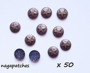 Lot de 50 étoiles thermocollantes métal style antique DIY-002