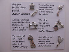 Sewing charms for scrapbooking, card and jewelry making - 8 charms and quotes