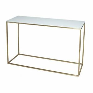 Gillmore White Glass and Gold Metal Contemporary Console Table