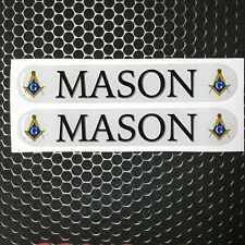 "Mason Masonic Freemason Domed Decal car Emblem 3D sticker 5.25""x .9"" Set of 2"