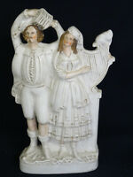 """ANTIQUE 19c. STAFFORDSHIRE STAFFORDSHIRE POTTERY FLAT BACK GROUP MUSICIAN ~ 17"""""""
