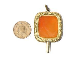 Antique 18thC Large Carnelian Gilt Metal Verge Pocket Watch Key Winder #WK28