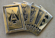"Royal Flush Playing Cards Belt Buckle 4 7/8"" x 3 7/8"""