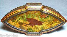 """RARE HUNTLEY&PALMERS """"MARQUETRY"""" EARLY FIGURAL CASKET BISCUIT TIN C1898"""